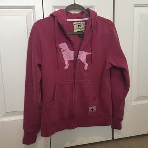 The Black Dog hooded zip up pink sweatshirt